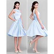 Lanting na altura do joelho vestido de dama de cetim - céu azul mais tamanhos / petite uma linha / princesa bateau