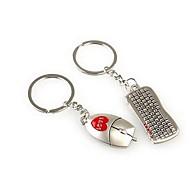mus och tangentbord formade metall nyckelring för älskare Alla hjärtans dag (1 par)
