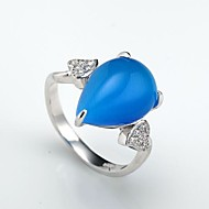 AS 925 Silver Jewelry Blue cat's eye micro insert ring