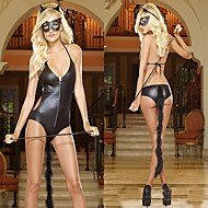 Girl Black Patent Leather Cat Girl Costumes Sexy  SM Uniform
