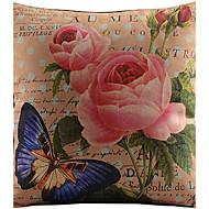 stora röda blommor och fjäril bomull / linne tryckt dekorativt kuddöverdrag