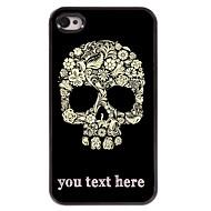 gepersonaliseerd geval bloem en schedel ontwerp metalen behuizing voor de iPhone 4 / 4s