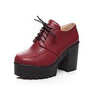 נעלי נשים - אוקספורד - דמוי עור - מעוגל - שחור / כחול / אדום - שמלה - עקב עבה