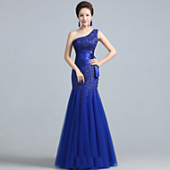 Formal Evening / Military Ball Dress - Lace-up / Elegant Fit & Flare One Shoulder Floor-length Lace / Tulle with Lace