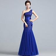 저녁 정장파티 드레스 - 루비/로얄 블루 핏 & 플레어 바닥 길이 원 숄더 레이스/명주그물
