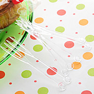 garfos descartáveis transparentes de frutas de plástico, cor aleatória, 4000pcs / set