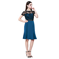 Homecoming Sheath/Column Jewel Knee-length Cotton And Lace Cocktail Dress