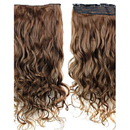 24 Inch 120g Long Light Brown Heat Resistant Synthetic Fiber Curly Clip In Hair Extensions with 5 Clips