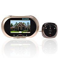 SOUESA 3.7 inch 130 Degrees Wide Angle Peephole TFT LCD Digital Door Viewer Doorbell Security Camera Cam + 4GB TF Card