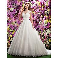 Lanting Bride® A-라인 퍼티트 웨딩 드레스 채플 트레인 V-넥 레이스 와