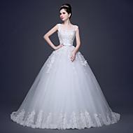 A-line Plus Sizes Wedding Dress Scoop Lace / Tulle