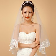 Wedding Veil One-tier Elbow Veils Lace Applique Edge 68.9 in (175cm) Tulle / Lace White