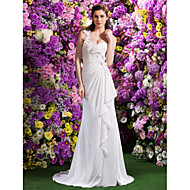 Lan Ting Trumpet/Mermaid Wedding Dress - Ivory Court Train One Shoulder Satin Chiffon