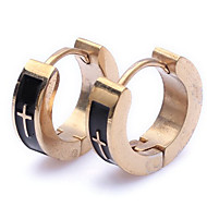 Mens female Jewelry wholesale Gold & Black Cross Stainless Steel Stud Hoop Mens Earrings E63