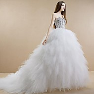 Princess Wedding Dress - White Cathedral Train Strapless Tulle/Stretch Satin