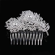 Wedding Bride Flower Austria Rhinestone Feather Silver Combs Hair Accessories