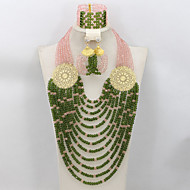 2015 Fashion Pink/Green African Beads Jewelry Set Nigerian Wedding Crystal Beaded Jewelry Set