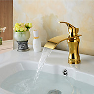 Fashion Waterfall Brass Ti-PVD Bathroom Sink Faucet - Golden