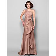Lanting Trumpet/Mermaid Plus Sizes / Petite Mother of the Bride Dress - Brown Sweep/Brush Train Sleeveless Taffeta / Lace