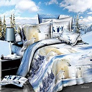 Shuian® Duvet Cover Set,3D Polar Bear Printing Bedding Set Bedsheet Duvet Cover Pillowcase Home Textile