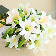 Set of 8 40inch Long 5 Heads Real Touch Lily White Color