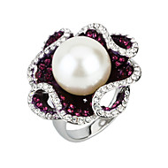 Arinna Gold 18K White Gp Clear Shining Girl Crystal Purple Pearl Flower Rings J0506