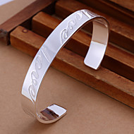 Fashion LOVE Round Shape Silver Plated Copper Bangle Bracelets (Silver)(1Pc)
