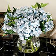 Five Blue Hygrangeas Artifical Flowers With Vase