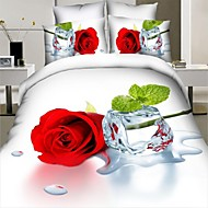 Duvet Cover Set,High Quality 3D Bedding Set 4pcs Queen Size 3D Rose Paintings Bedding Flat Fitted Bed Sheet Pillowcase