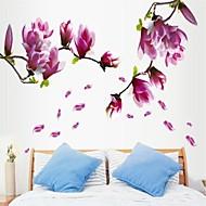 etiqueta de la pared en forma de flor de magnolia púrpura ambiental