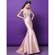 동창회 공식적인 저녁 드레스 - 진주 핑크 트럼펫 / 인어 아가 청소 / 브러쉬 기차 새틴