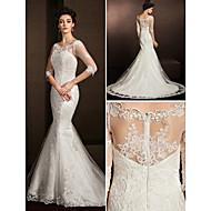 Lanting Bride® Trumpet / Mermaid Petite / Plus Sizes Wedding Dress See-Through Wedding Dresses Court Train Scoop Lace with