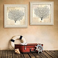 E-HOME® Framed Canvas Art,Tree Framed Canvas Print Set of 2
