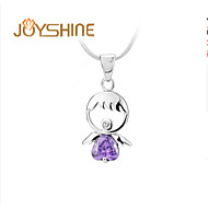 JOYshine Women's/Ladys s925 Silver Angel Purple Zircon Pendant Fashion Necklaces