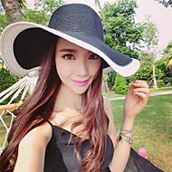 Women's Black And White Keys Straw Ladies Outdoor/Casual/ Beach Hats