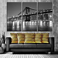 e-Home® stad bro dekorativa kanfastryck med LED-lampor uppsättning av tre