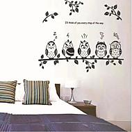 búhos y rama de etiqueta de la pared sala / comedor / dormitorio para niños