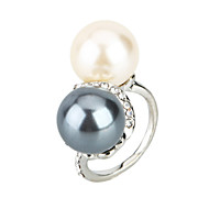 Arinna  White & Gray Pearls Crystal Fashion Ring 18k White Gold Plated J1620