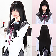 Angelaicos Women Akemi Homura Puella Magi Madoka Magica Long Straight Black Halloween Costume Party Cosplay Wig