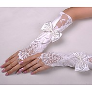 Até o Cotovelo Sem Dedos Luva Luvas de Noiva Luvas de Festa Primavera Verão Miçangas Laço