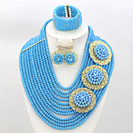African Nigerian Wedding Bridal Jewelry Set Crystal Costume Beads Jewelry Set