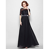 Lanting Bride A-line Plus Size / Petite Mother of the Bride Dress Floor-length Half Sleeve Chiffon / Lace withLace / Sash / Ribbon /