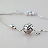 925 Sterling Silver Ball Chain Anklet Decorative Accents for Shoes One Piece