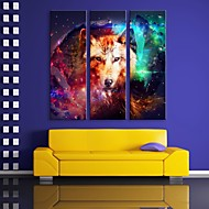 e-Home® strakt ledet lærred udskrive kunst ulven flash effekt førte blinkende optisk fiber print sæt af 3