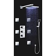 "Triple Handle Thermostatic Shower Valve Brass Square 8"" LED Rain Shower Head Spa Body Massage Spray Jets"
