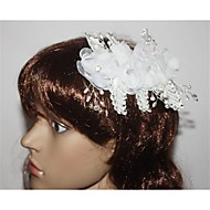 Fleurs Casque Mariage Plume/Perle/Argent pur/Strass/Polyester Femme Mariage