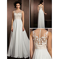 Lan Ting A-line Wedding Dress - Multi-color Floor-length Jewel Lace/Satin Chiffon