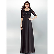 Formal Evening Dress Plus Size / Petite Sheath / Column Square Floor-length Chiffon with Crystal Detailing / Lace / Ruching