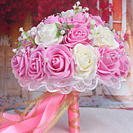 A Bouquet of 30 PE Simulation Roses Wedding Bouquet Wedding Bride Holding Flowers,Light Pink and White