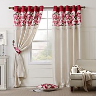 Two Panels Country Floral Lined Curtain + 1 Pillow + 2 Tiebacks Set